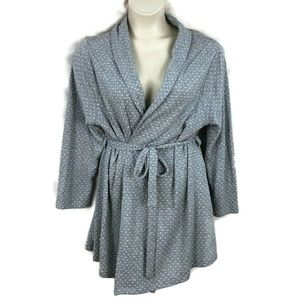 NEW Catherines 0X 14 16 Gray Belted Robe Polka Dot
